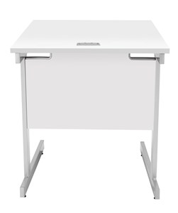 Rectangular Desks Fraction Plus Square Desk, White with Silver Frame