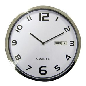 Business Facilities Wall Clock with Dates Diameter 300mm with White Face & Grey Case