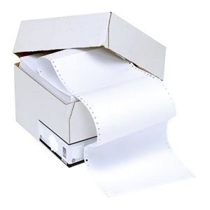 Business Office Listing Paper 2-Part Carbonless Perf 55gsm 11inchx241mm Plain White/White 1000 Sheets