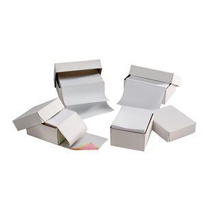 Business Office Listing Paper 2-Part Carbonless 11inchx368mm Plain White 1000 Sheets