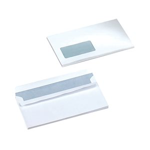 Business Office Envelopes PEFC Wallet Self Seal Window 90gsm DL 220x110mm White Pack 1000