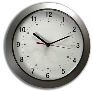 Business Facilities Wall Clock with Coloured Case Diameter 300mm Silver